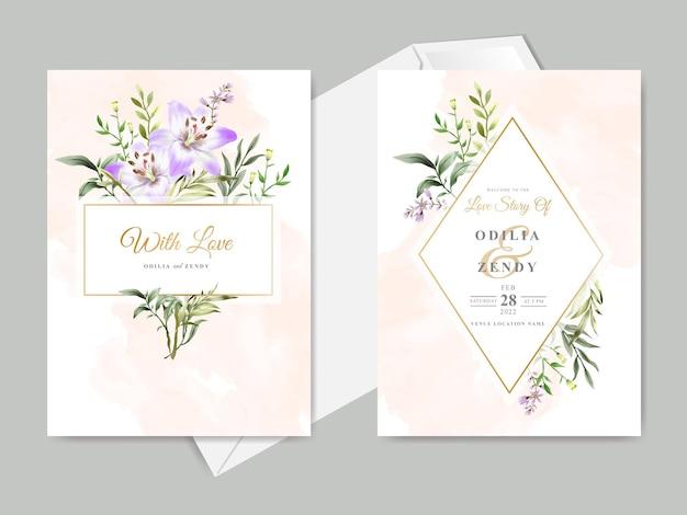 Modelli di carte di invito a nozze disegnati a mano floreali belli ed eleganti