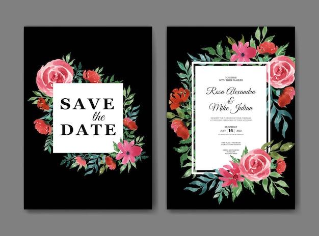 Bello ed elegante modello di biglietto d'invito per matrimonio ad acquerello floreale