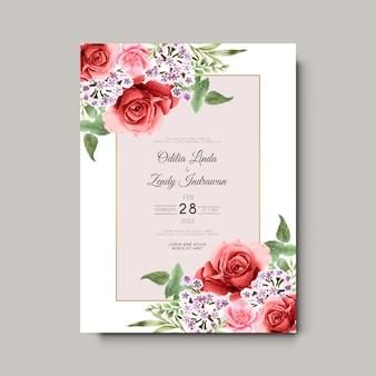 Bellissimi ed eleganti fiori e foglie di carte di invito a nozze ad acquerello