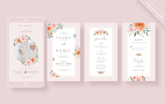 Bella ed elegante raccolta di storie di matrimonio su instagram Vettore Premium