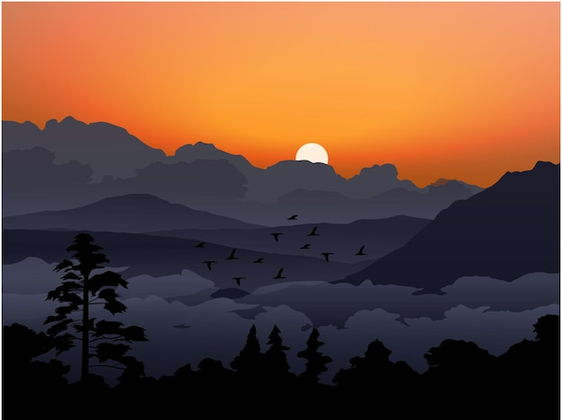 Bel cielo serale con montagna nuvoloso e foresta