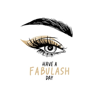 Splendido occhio con lunghe ciglia nere, ombretto dorato, sopracciglia. buona giornata - citazione scritta a mano.