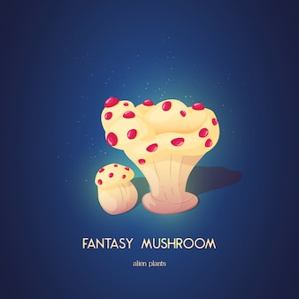 Bellissimo fungo fantasy elementi di natura insolita magici