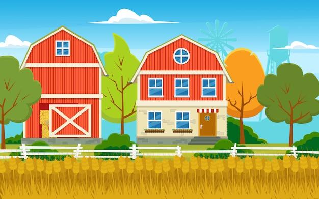Bella fattoria e un campo di grano dorato.