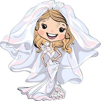 Sposa bella ragazza alla moda nel suo abito da sposa