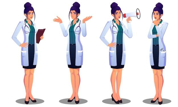 Bella dottoressa che esprime emozioni diverse, confuso, pensando, annunciando e file in piedi