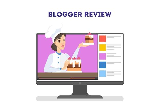 Bella blogger alimentare femminile. la donna cucina cibo delizioso
