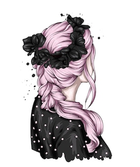 Bella acconciatura femminile e ghirlanda floreale