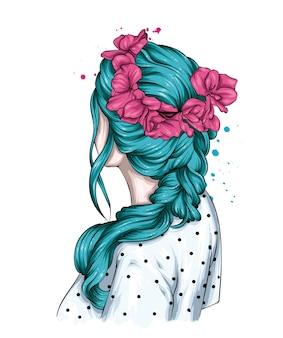Bella acconciatura femminile e una corona di fiori