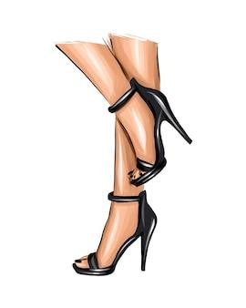 Belle gambe femminili gambe di donna alla moda in scarpe nere parti del corpo femminile tacchi alti neri