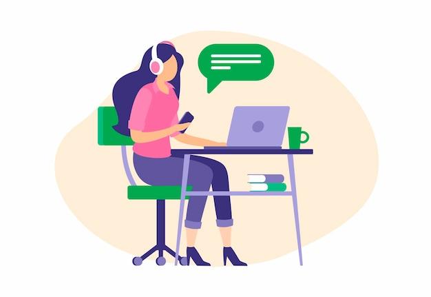 La bella operatore femminile consulta i clienti online. la ragazza si siede nel computer portatile delle cuffie e parla con l'abbonato. servizio di supporto professionale e call center per vendite pubblicitarie. illustrazione piatta vettoriale