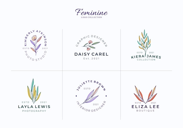 Bellissimi modelli di loghi botanici o floreali femminili