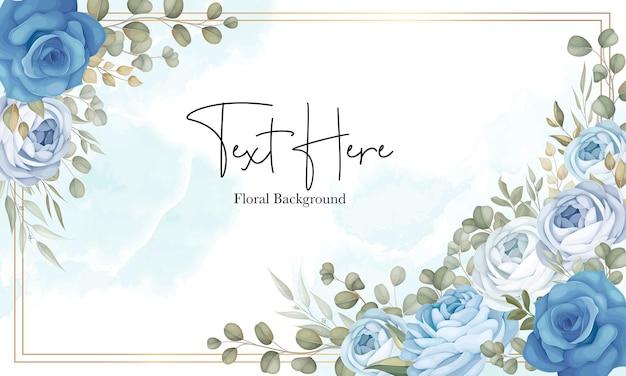 Bellissimo sfondo floreale con decorazione di peonie blu disegnate a mano