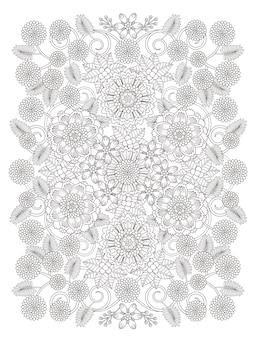 Bella pagina da colorare floreale in linea squisita