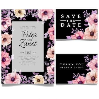 Modello editabile della bella scheda di invito per evento di matrimonio digitale floreale
