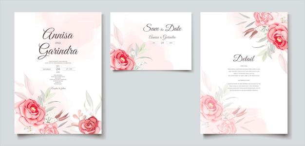 Modello di carta di invito matrimonio bella cornice floreale