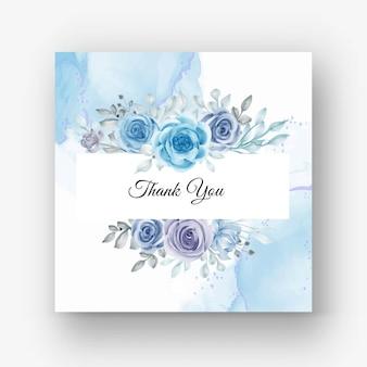 Bellissima cornice floreale per matrimonio con fiore acquerello blu