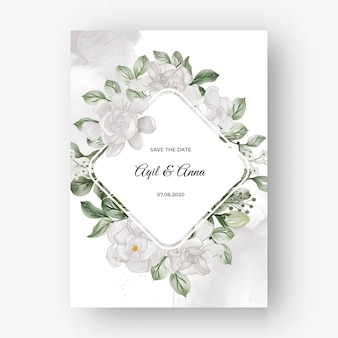 Bellissima cornice floreale per matrimonio con fiore bianco gardenia Vettore Premium