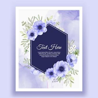 Bella cornice floreale con elegante fiore anemone viola e bianco