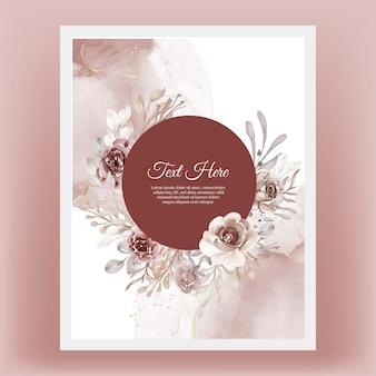 Bellissima cornice floreale con elegante fiore in terracotta