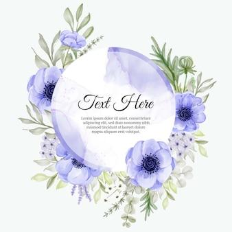 Bella cornice floreale con elegante anemone viola