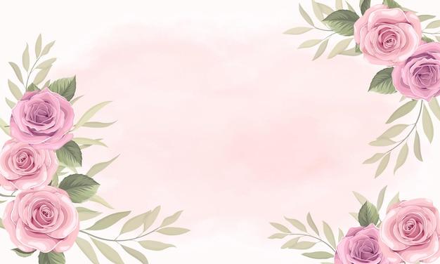 Bella cornice floreale con disegno di rose rosa