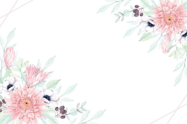 Bellissima cornice floreale con morbida dalia, anemone e protea