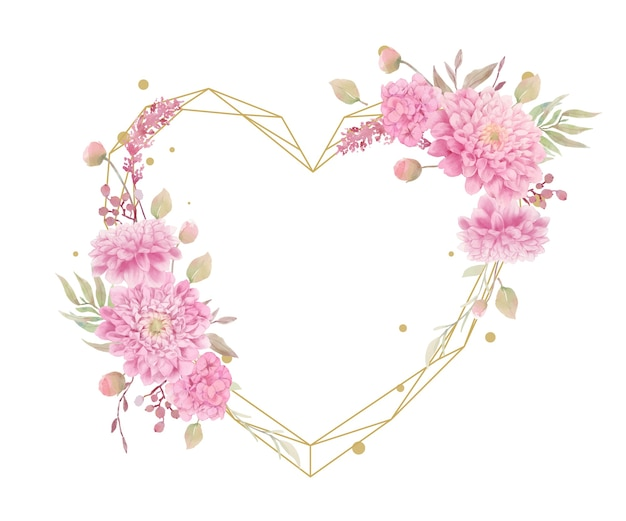 Bella cornice floreale con fiori di dalie dell'acquerello
