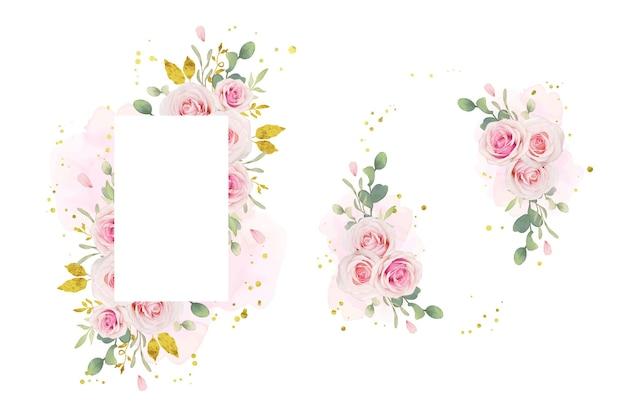 Bella cornice floreale con rose rosa acquerello e ornamento d'oro