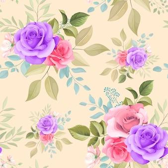 Bellissimo disegno floreale disegnato a mano senza cuciture