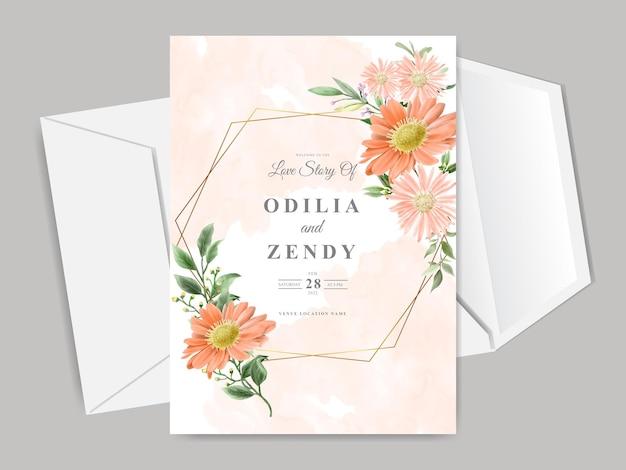 Bellissimo modello di carta di invito matrimonio floreale disegnato a mano