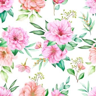 Bellissimo motivo floreale e foglie senza soluzione di continuità