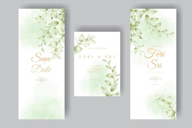 Modello dell'acquerello della carta dell'invito di nozze delle belle foglie floreali
