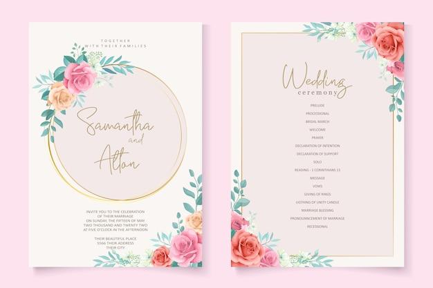 Bella carta di invito a nozze floreale e foglie Vettore Premium
