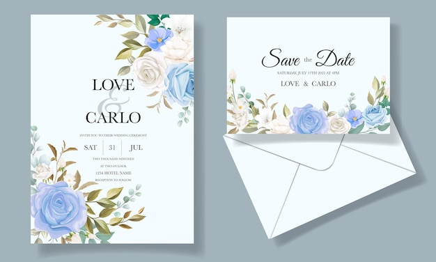 Bella carta di invito a nozze floreale e foglie