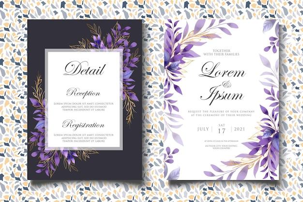 Bellissimo modello di invito a nozze floreale e foglie