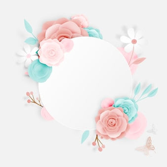 Bella arte di carta floreale con farfalla