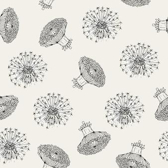 Bellissimo motivo floreale senza soluzione di continuità con capolini di tarassaco e palline disegnate a mano in stile antico.