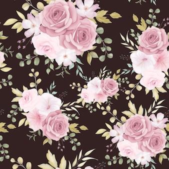 Bellissimo motivo floreale senza soluzione di continuità con il fiore rosa polveroso