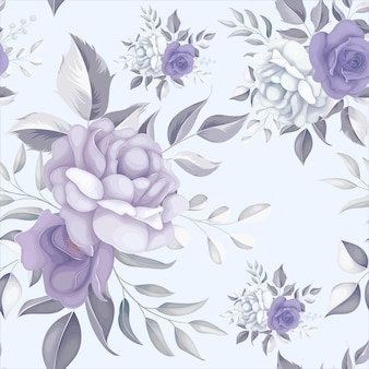 Bellissimo motivo floreale senza soluzione di continuità con fiori viola