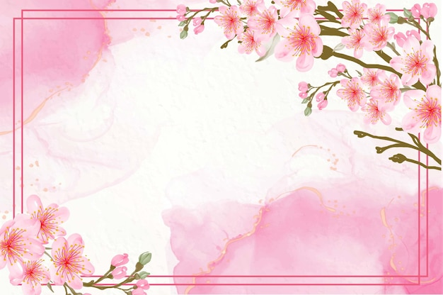 Bellissimo sfondo rosa acquerello floreale con fiori di ciliegio