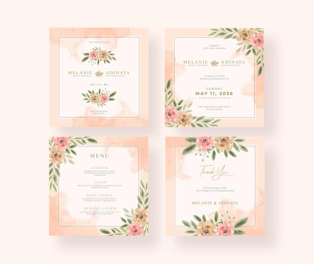 Bella collezione di post di instagram per matrimonio ad acquerello floreale
