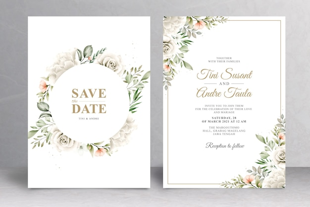 Bellissimo modello di carta di matrimonio floreale