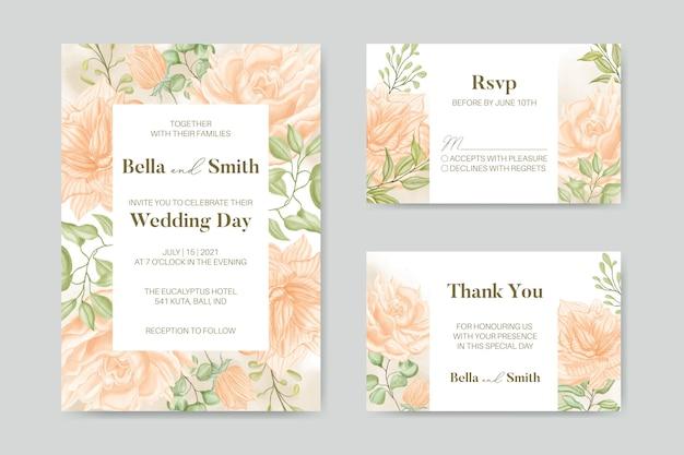 Pacchetto stabilito del modello della carta dell'invito di nozze floreale bello