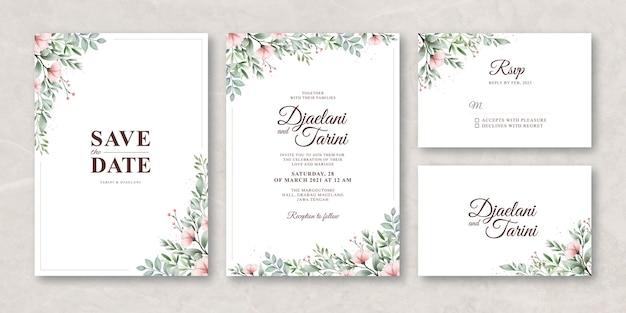 Bellissimo modello di carta di invito matrimonio floreale