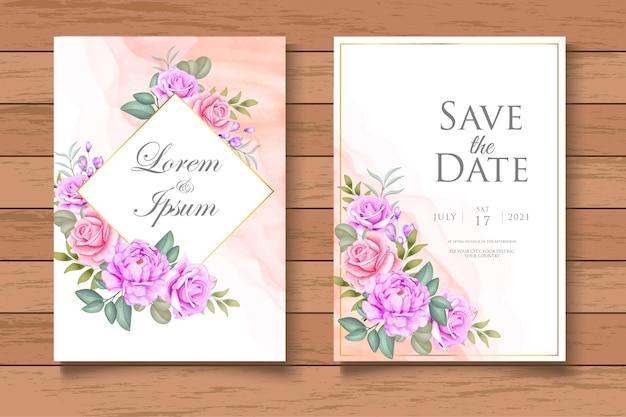 Bellissimo modello di biglietto d'invito per matrimonio floreale