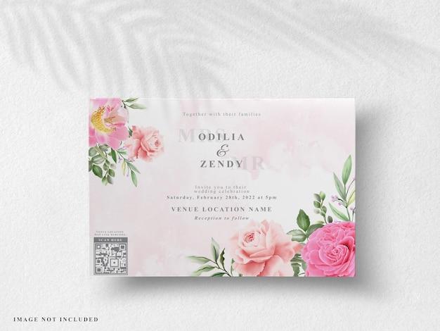 Bellissimo biglietto d'invito per matrimonio floreale