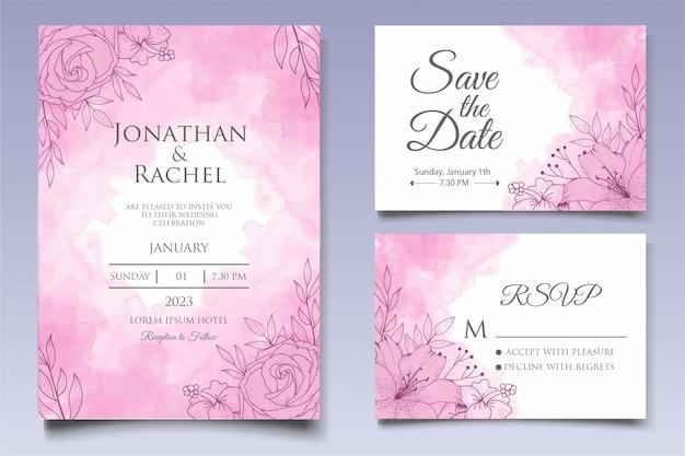 Modello di invito di bel matrimonio floreale con stile lineart