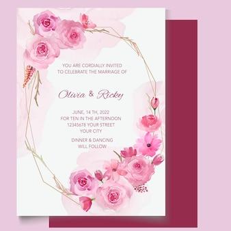 Bellissimo modello di invito a nozze floreale