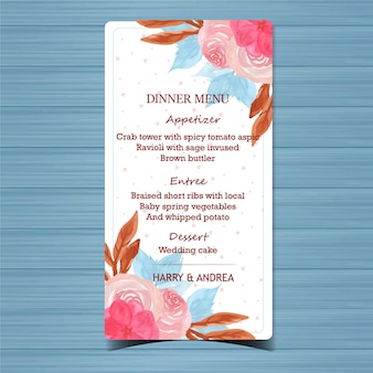 Bella carta del menu di nozze floreali
